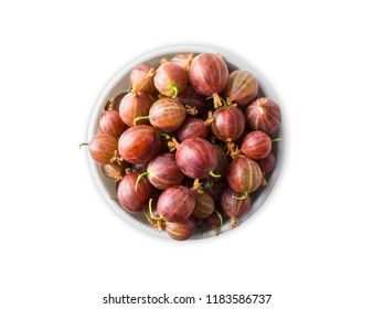 Top view. Gooseberries fruits isolated on white background. Red gooseberries in a bowl with copy space for text. Ripe gooseberry close-up. Background berry. Sweet and juicy berry.