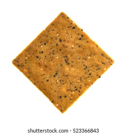 Top view of a gourmet teff whole grain snack cracker isolated on a white background.