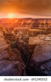 Top view of Grand Canyon at sunset autumn color, USA
