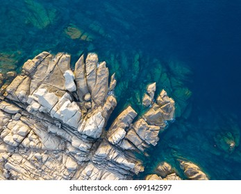 Top view of granite rocks in Sardinia.