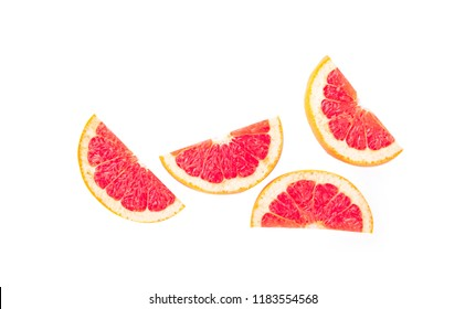 Top view grapefruit slice isolated on white background