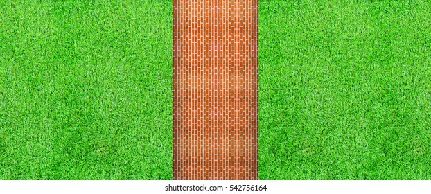 Top view of grass background with brick at the park and blank space for texts or products display