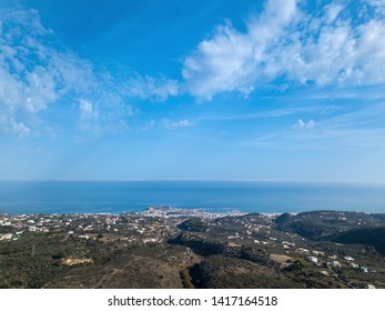 Top view of the greek city Rethymno, harbor and Aegean Sea in the summer