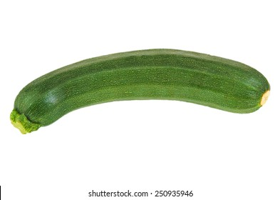 Top view of a green and ripe zucchini isolated on white background