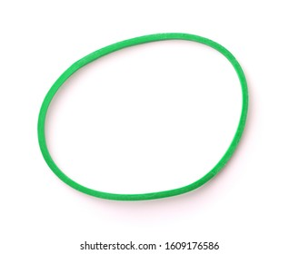 Top view of green rubber band isolated on white
