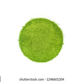 Top view of green tea powder on white background.