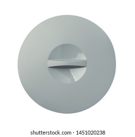 Top view of grey silicone pan lid isolated on white