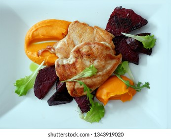 top view of grilled chicken with vegetables