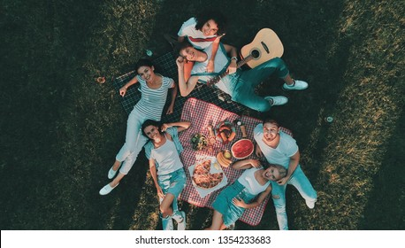 Top view of group of friends having picnic on the backyard. Young people sitting on grass together.