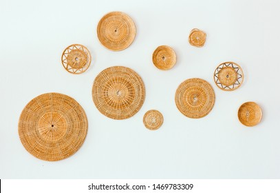 Top view group of serving tray mat and small basket made from bamboo and  rattan