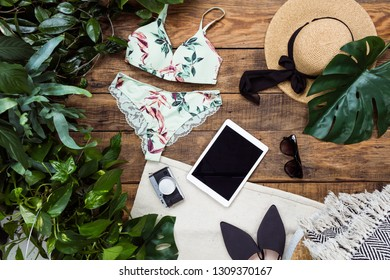 2f26ea8cbb Top view of group of summer objects on wooden background. Swimwear,  sunglasses and exotic