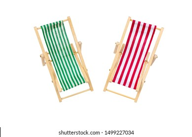 Top view group of wooden red and green beach chairs lounge isolated on white background.