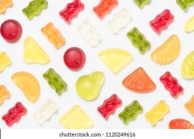 top view of gummy candies