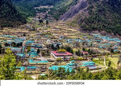 top view of Haa valley in Bhutan