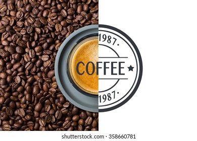 A top view of a half a image of delicious transparent glass cup of hot cappuccino standing on and surrounded by coffee beans where the other half of the image is a round illustration.