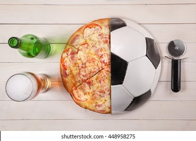 Top view of half soccer ball / half pizza and beer. creative concept. idea
