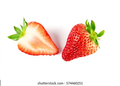 Top view of Half strawberry isolated on white background.