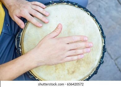 Top view hand of bongo player