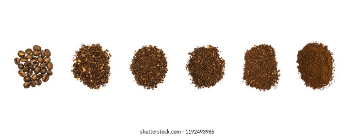 Top view of hand grounded light roasted coffee beans. Coffee grounds in many level, whole beans, coarse, medium, fine. On white background, isolated.