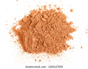 top view of handful of cocoa powder isolated on white background