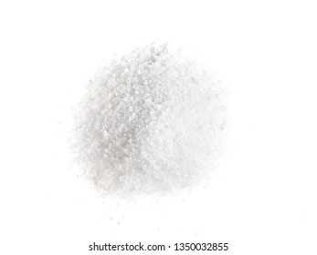 top view of handful of grained Rock Salt on white background