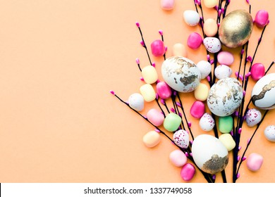Top view Happy Easter holiday background concept.Flat lay