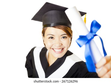 top view happy young woman graduating holding diploma