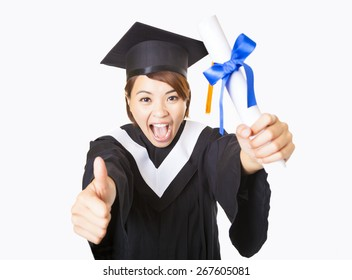 top view happy young woman graduating showing thumb up