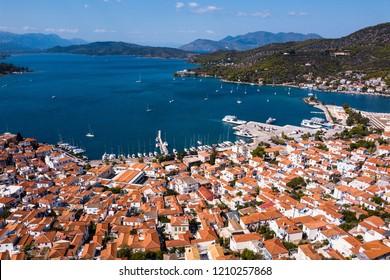 Top view of the harbor landscape at Poros island, Aegean sea, Greece.