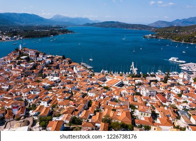 Top view of harbor on Poros island, Aegean sea, Greece.