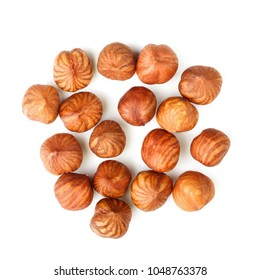 Top view of hazelnuts isolated on white background.