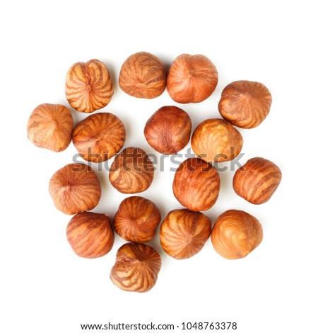 Top View Hazelnuts Isolated On White Stock Photo Edit Now