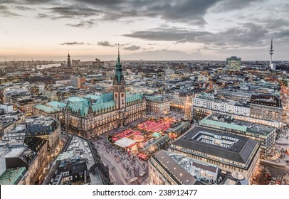 Top view HDR shot of Hamburg town hall with christmas market
