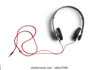 top view of headphones on white background
