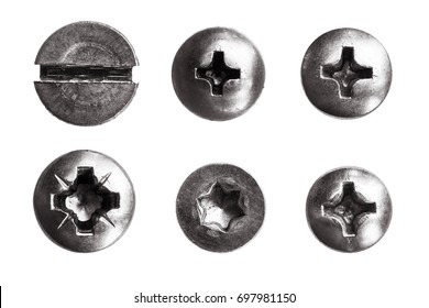 Top view heads of screws metal on a white background.  rivets isolated. Components of the graphic design.