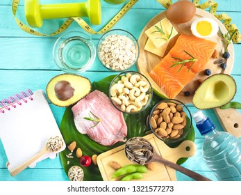 Top view ,Healthy eating of ketogenic diet meal plan which fitness and weight loss concept
