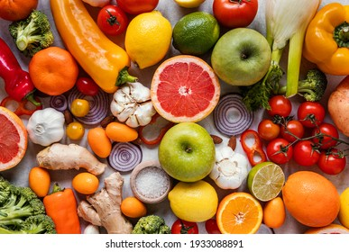 Top view healthy food for immunity boosting composition