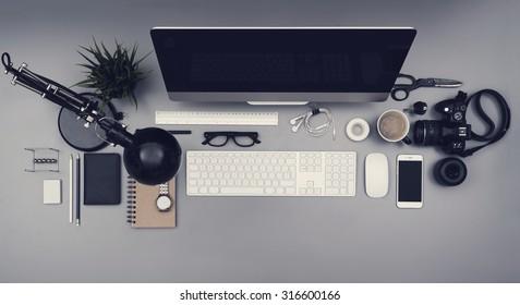 top view hero header office desk