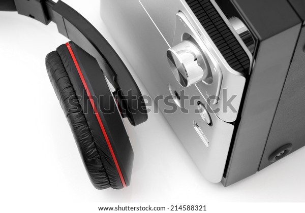 Top view of a hifi system and headphones.