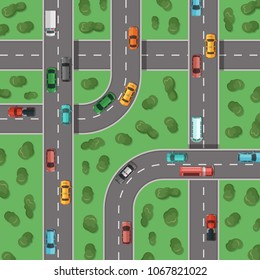 Top view highways with cars and with trees illustration. Highway road transport traffic transport and crossroads