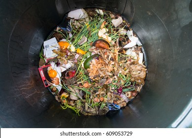 Top view of a home compost heap with freshly introduced kitchen scraps and other organic matter on top