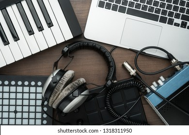 top view of home studio music production equipment