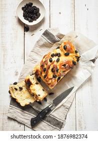 Top View Homemade Raisin Babka Bread on White Background