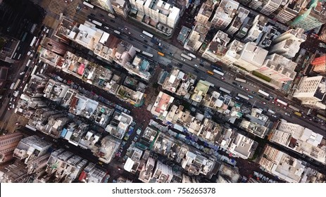 Top view of Hong Kong cityscape