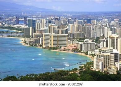 Top view of Honolulu Waikiki Beach