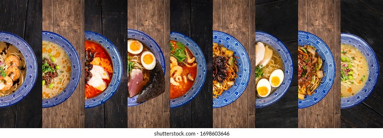 Top view horizontal row collage with various Asian Japanese ramen noodle soup dishes in traditional blue bowls  for menu design