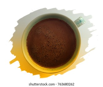 Top view of hot chocolate in cup