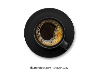 Top view of Hot coffee in black cup  isolated on white background. Cllipping path.
