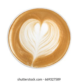 Top view of hot coffee cappuccino latte art heart shape foam isolated on white background, clipping path included