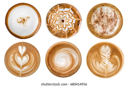 Top view of hot coffee cappuccino latte art foam set isolated on white background